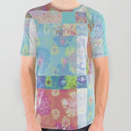 Lotus flower turquoise and apricot stitched patchwork - woodblock print style pattern All Over Graphic Tee