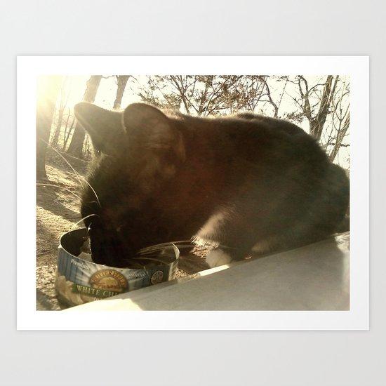 Black Cat Snack Art Print