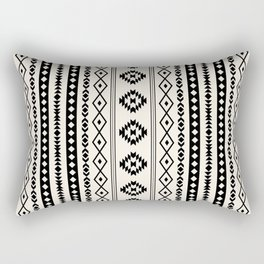 Aztec Black on Cream Mixed Motifs Pattern Rectangular Pillow