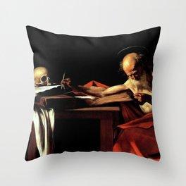 Michelangelo Merisi da Caravaggio - Saint Jerome Writing Throw Pillow