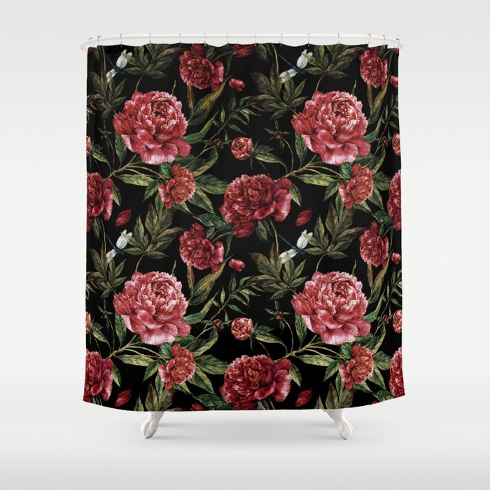 Black Vintage Peony Garden Shower Curtain by vintage_love | Society6