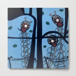 KNITTING SPIDERS on a POWER TRIP Metal Print