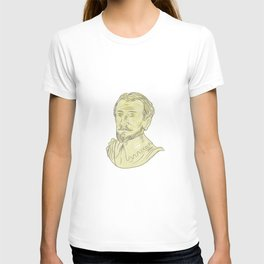 15th Century Spanish Explorer Bust Drawing T-shirt