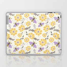 Honey Bees and Flowers - Yellow and Lavender Purple Laptop & iPad Skin