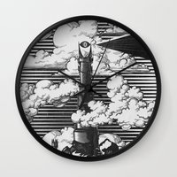 lotr Wall Clocks featuring Lord of the Rings Mordor Tower Vintage Geek Art by Barrett Biggers