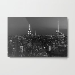 Manhattan sunset. Black and white photo Metal Print