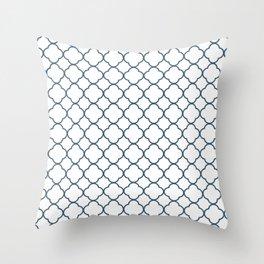 Dusky Blue Clover Quatrefoil Pattern Throw Pillow