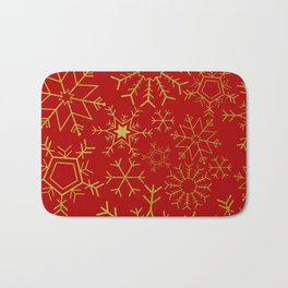 Red and gold snowflakes Bath Mat