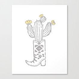 Southwest Cactus Boot Canvas Print