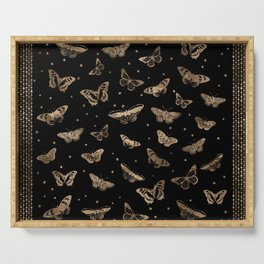 Butterfly patern black and gold Serving Tray