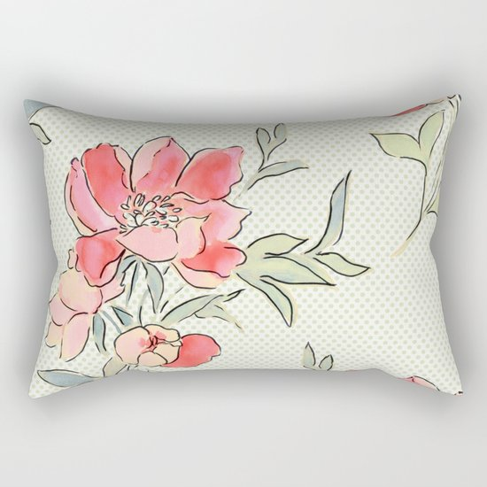 Vintage Floral Green Dot Rectangular Pillow