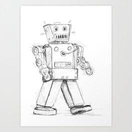retro robot Art Print