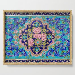 Turquoise Floral tile Serving Tray