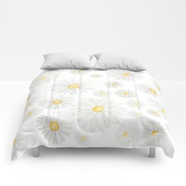white daisy pattern watercolor Comforters
