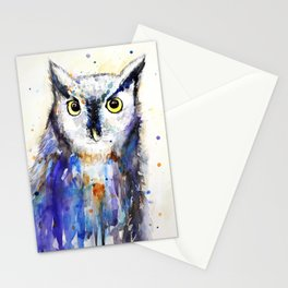 Owl, watercolor Stationery Cards