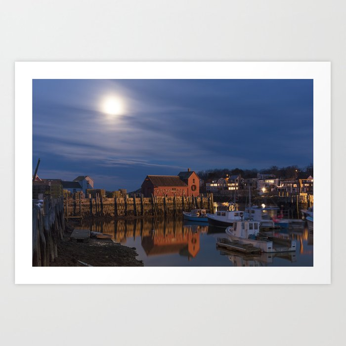 Rockport Harbor at night Art Print