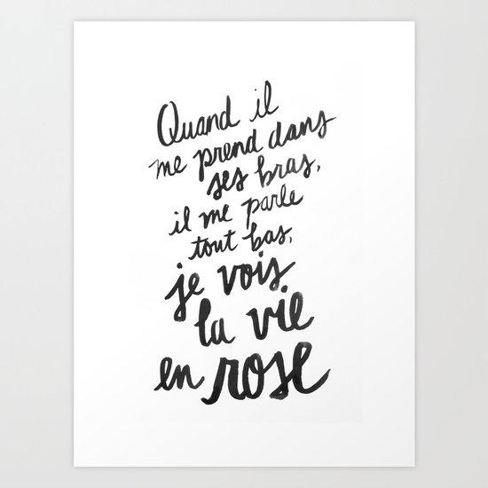 La Vie En Rose Lyrics Art Print By Holley Maher