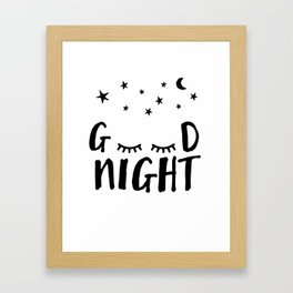Good Night - Closed Eyes, Moon and Stars quote Framed Art Print