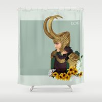 loki Shower Curtains featuring Loki by tsunami-sand