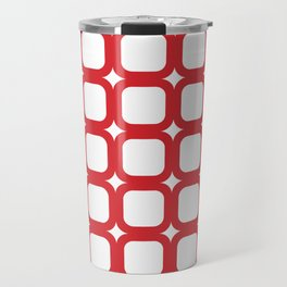 RoundSquares Red on White Travel Mug
