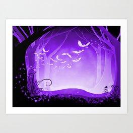Dark Forest at Dawn in Amethyst Art Print