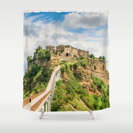 Village in the clouds Shower Curtain