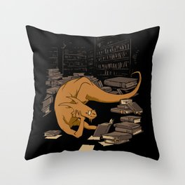 The Book Wyrm Throw Pillow