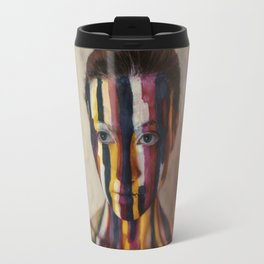 Woman With Colorful Painted Face Travel Mug