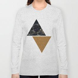 Dark marble and bronze geo Long Sleeve T-shirt