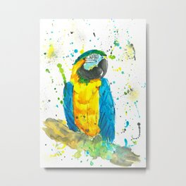 Blue & Gold Macaw - Watercolor Painting Metal Print
