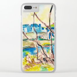 Watercolor spring landscape with trees, river and country Clear iPhone Case