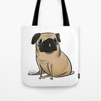 pug Tote Bags featuring Pug by Sandra Rivas