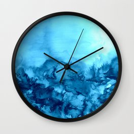 INTO ETERNITY, TURQUOISE Colorful Aqua Blue Watercolor Painting Abstract Art Floral Landscape Nature Wall Clock