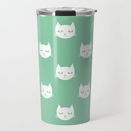 Cat minimal illustration pet cats head drawing digital pattern mint and white nursery art Travel Mug