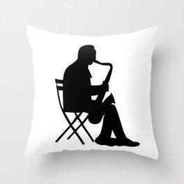 Saxaphone Silhouette Throw Pillow