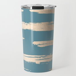 Abstract Painted Stripes Gold Tropical Ocean Blue Travel Mug