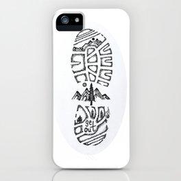 """Tread Lightly""  Hand-Drawn by Dark Mountain Arts iPhone Case"