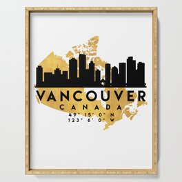 VANCOUVER CANADA SILHOUETTE SKYLINE MAP ART Serving Tray
