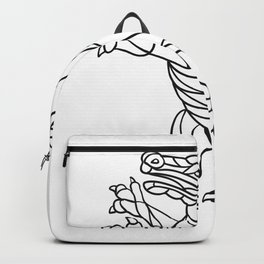 Alligator Prancing Mosaic Black and White Backpack