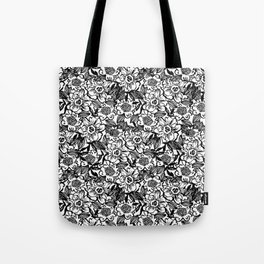 Ella - abstract floral flowers minimal modern black and white girly gender neutral boho painting Tote Bag