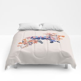 Exotic Butterfly Collage By Black Jungle Comforters