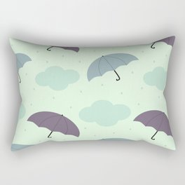 rainy sky with colorful umbrella seasonal pattern Rectangular Pillow