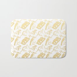 Beautiful Golden Australian Native Floral Print Bath Mat