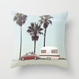 NEVER STOP EXPLORING - CAMPING PALM BEACH Throw Pillow