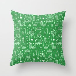 Santa Workshop Green Throw Pillow