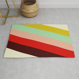 Juno - Colorful Classic Abstract Minimal Retro 70s Style Stripes Design Rug