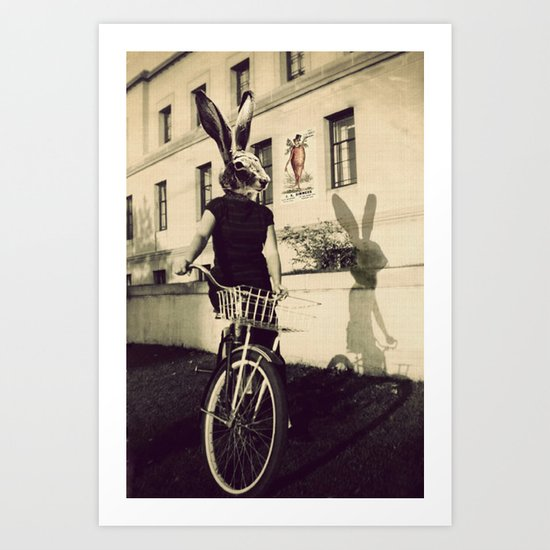 Bunny on Bicycle Art Print