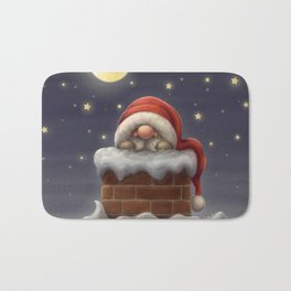 Little Santa in a chimney Bath Mat