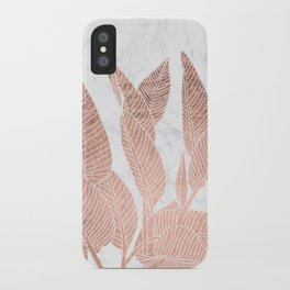 Modern faux Rose gold leaf tropical white marble illustration iPhone Case