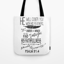 Psalm 91:4 Christian Bible Verse Typography Design Tote Bag